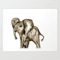 baby elephant Art Prints featuring Baby Elephant by James Peart