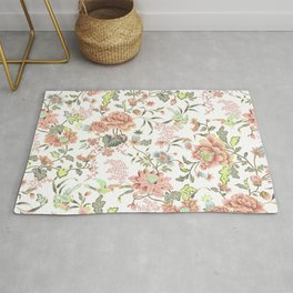 dainty cottagecore floral packed pattern - peach/pink Rug
