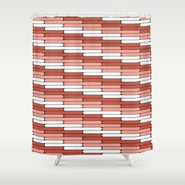 Staggered Oblong Rounded Lines Pantone Living Coral Illustration Shower Curtain