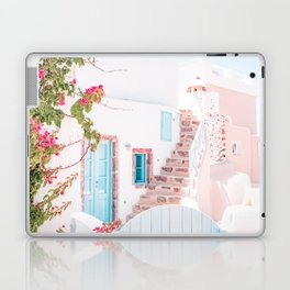 Santorini Greece Mamma Mia Pink House Travel Photography in hd. Laptop & iPad Skin