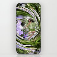 pixies iPhone & iPod Skins featuring Green Flower fairy by Just Kidding