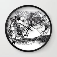 circus Wall Clocks featuring Circus by Ivanka Costru