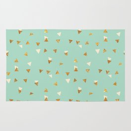 Pastel green ivory faux gold glitter abstract triangles Rug