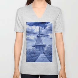 Delft Blue Dutch Windmill Unisex V-Neck