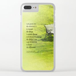 Serenity Prayer Bench Clear iPhone Case