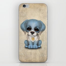 Cute Puppy Dog with flag of Argentina iPhone Skin