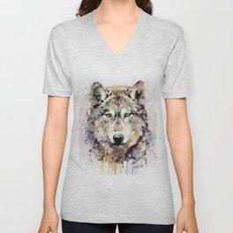 Wolf Head Watercolor Portrait Unisex V-Neck