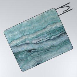 Mystic Stone Aqua Teal Picnic Blanket