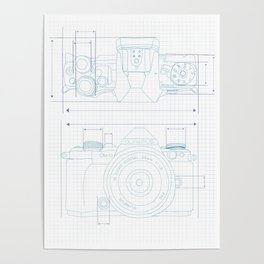 Olympus camera blueprint Poster