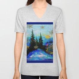 Blue Snowy Mountain Scenic Landscape Unisex V-Neck