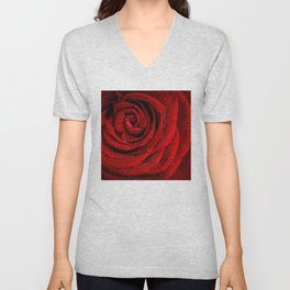 Red rose with sparkling droplets - Beautiful elegant Roses Unisex V-Neck