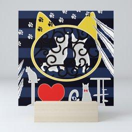 "KARAKUSA CAT'S ""I LOVE CAT"" Mini Art Print"