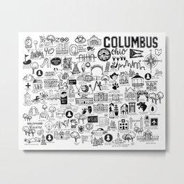Columbus Ohio Map Metal Print
