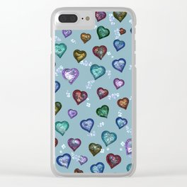 Lovely and Cute B teal Clear iPhone Case
