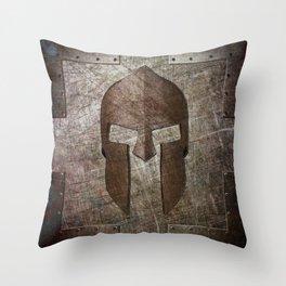 Molon Labe - Spartan Helmet on Riveted steel Throw Pillow