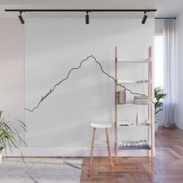 Mt Everest Art Print / White Background Black Line Minimalist Mountain Sketch Wall Mural