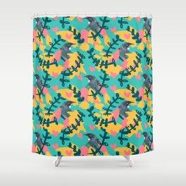 Blocky Tui Heart Print Shower Curtain
