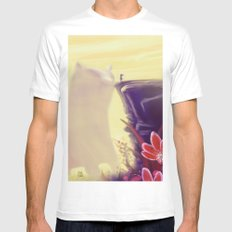Beauty and the Beast White Mens Fitted Tee MEDIUM