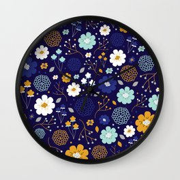 Winter Floral Wall Clock