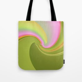 Pink and Green Curves Fractal Abstract Art Tote Bag