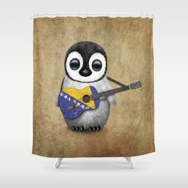 Baby Penguin Playing Bosnian Flag Acoustic Guitar Shower Curtain