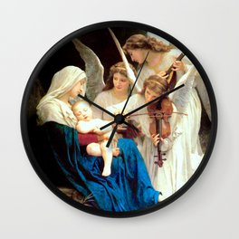 Madonna with Infant Jesus and Angels Virgin Mary Art Wall Clock
