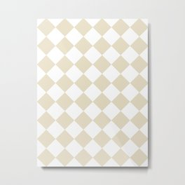 Large Diamonds - White and Pearl Brown Metal Print