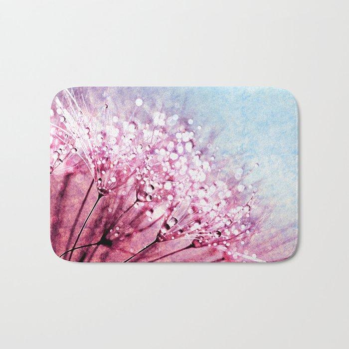 Mauve Lavender Blue Dandelion Dew Flowers Bath Mat