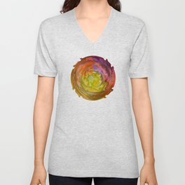 Burgundy and Olive Abstract Unisex V-Neck