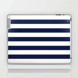 Nautical Navy Blue and White Stripes Laptop & iPad Skin