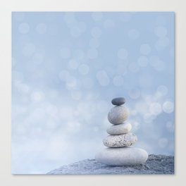 Balanced Zen Pebble Stack Blue Light Canvas Print