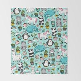 Narwhal and Friends, Emoji Tween Print, Pre-teen Girls, Unicorns, Panda, Llamas and Doughnuts Throw Blanket