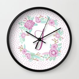 Monogram J - cute girls purple florals flower wreath, lilac florals, baby girl, baby blanket Wall Clock