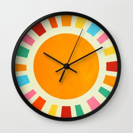 Retro Sun Art: Bauhaus Rainbow Edition Wall Clock