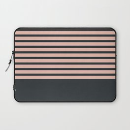 Navy stripes on pale pink Laptop Sleeve