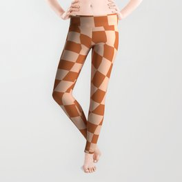 Check IV - Orange Twist — Checkerboard Print Leggings