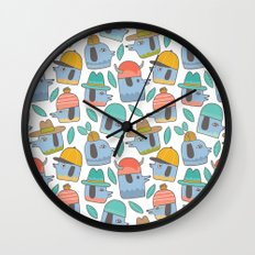 Pattern Project #38 / Dogs With Hats Wall Clock