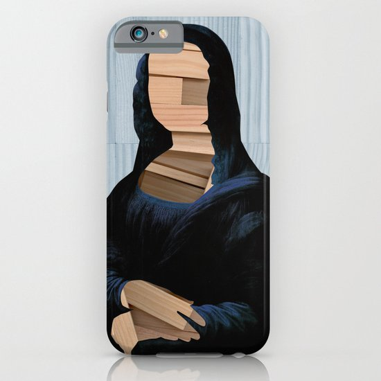 Mona Lisa - blue shining WoodCut Collage iPhone & iPod Case