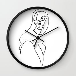 Continuous line drawing face #2 Wall Clock
