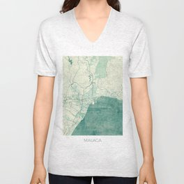 Malaga Map Blue Vintage Unisex V-Neck