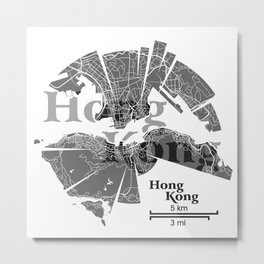 Hong Kong Map Metal Print