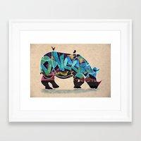 rhino Framed Art Prints featuring Rhino by mark ashkenazi