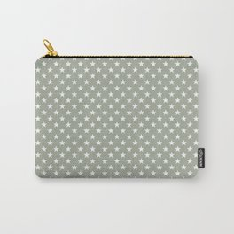 Bright White Stars on Desert Sage Grey Green Carry-All Pouch