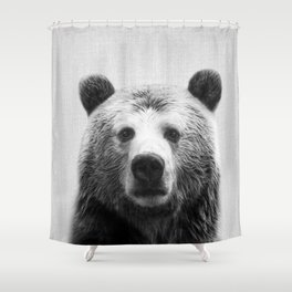 Bear - Black & White Shower Curtain