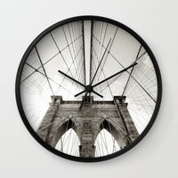brooklyn bridge Wall Clocks featuring Brooklyn Bridge by Niklas Veenhuis
