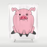 gravity falls Shower Curtains featuring Gravity Falls - Waddles by pondlifeforme