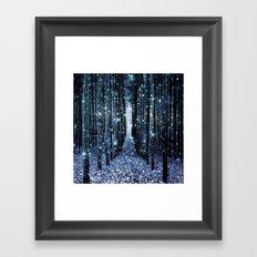 Magical Forest Teal Indigo Elegance Framed Art Print