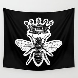 Queen Bee No. 4   Vintage Bee with Crown   Black and White   Wall Tapestry