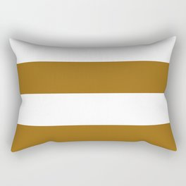 Wide Horizontal Stripes - White and Golden Brown Rectangular Pillow