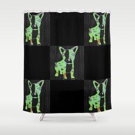 Neon French Bulldog Shower Curtain